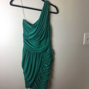 One shoulder green fitted dress